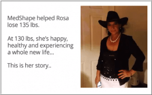 Rosa loses 135 with MedShape 500 Calories Diet